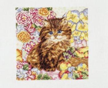 Рукодельки - котенок в цветах