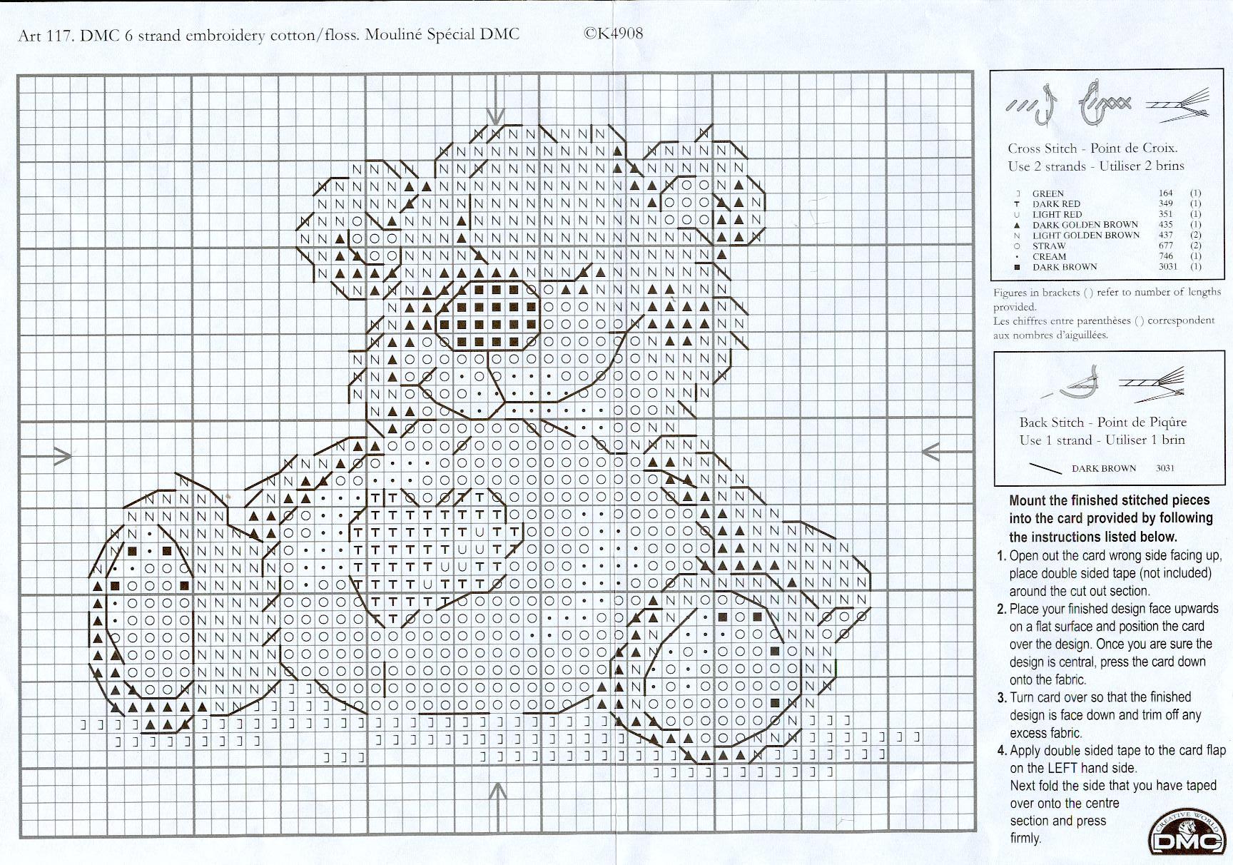 Схема вышивки крестиком мишки тедди.