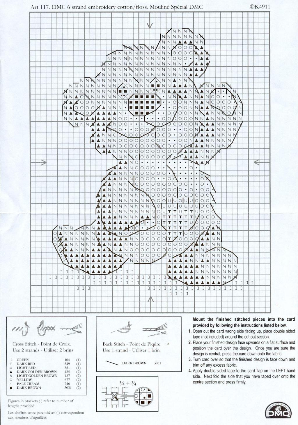 Рукодельки - мишка танцует - схема вышивки крестиком
