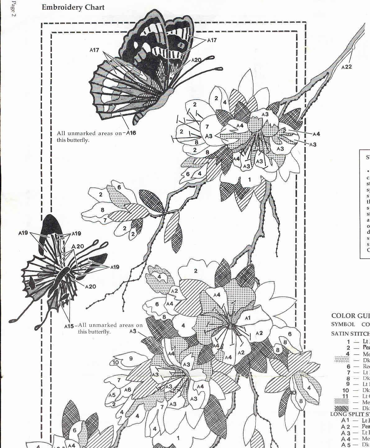 Рукодельки -бабочки и веточка - схема вишивки гладью
