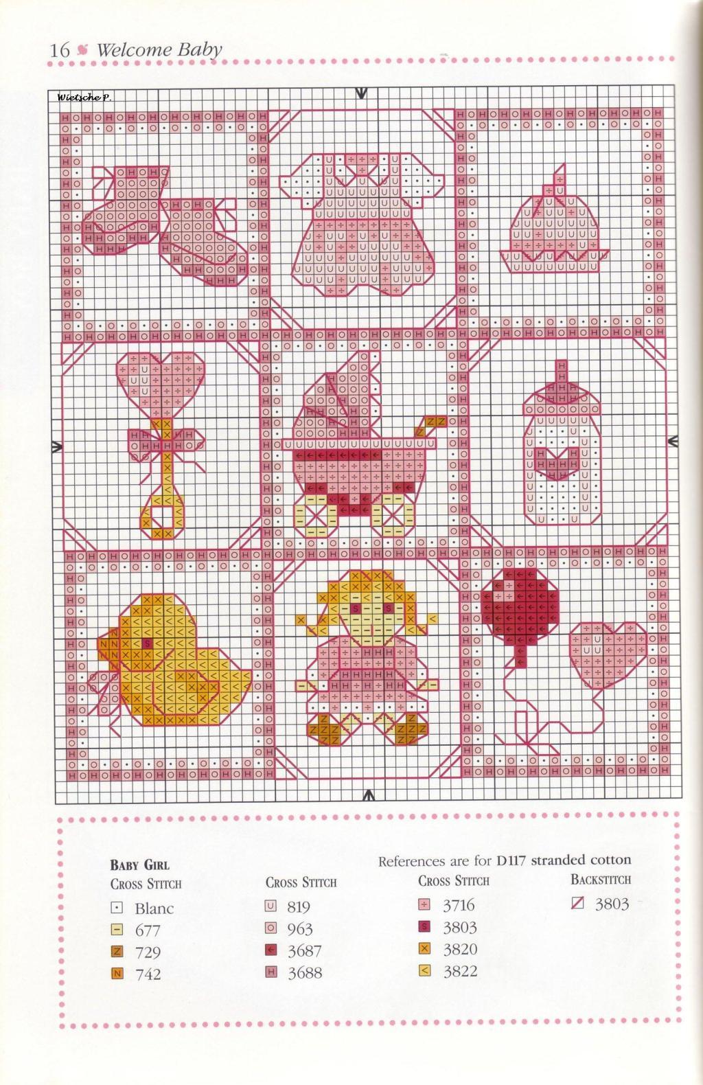 рукодельки - цветная схема вышивка для девочки