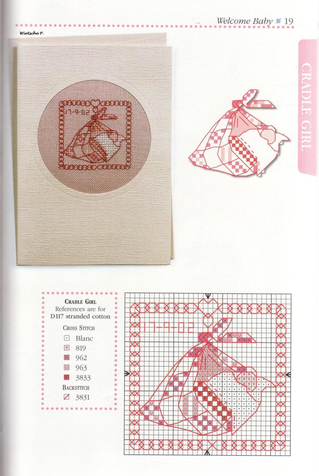 Рукодельки - идеи открытки для новорожденного - цветные схемы вышивки крестиком