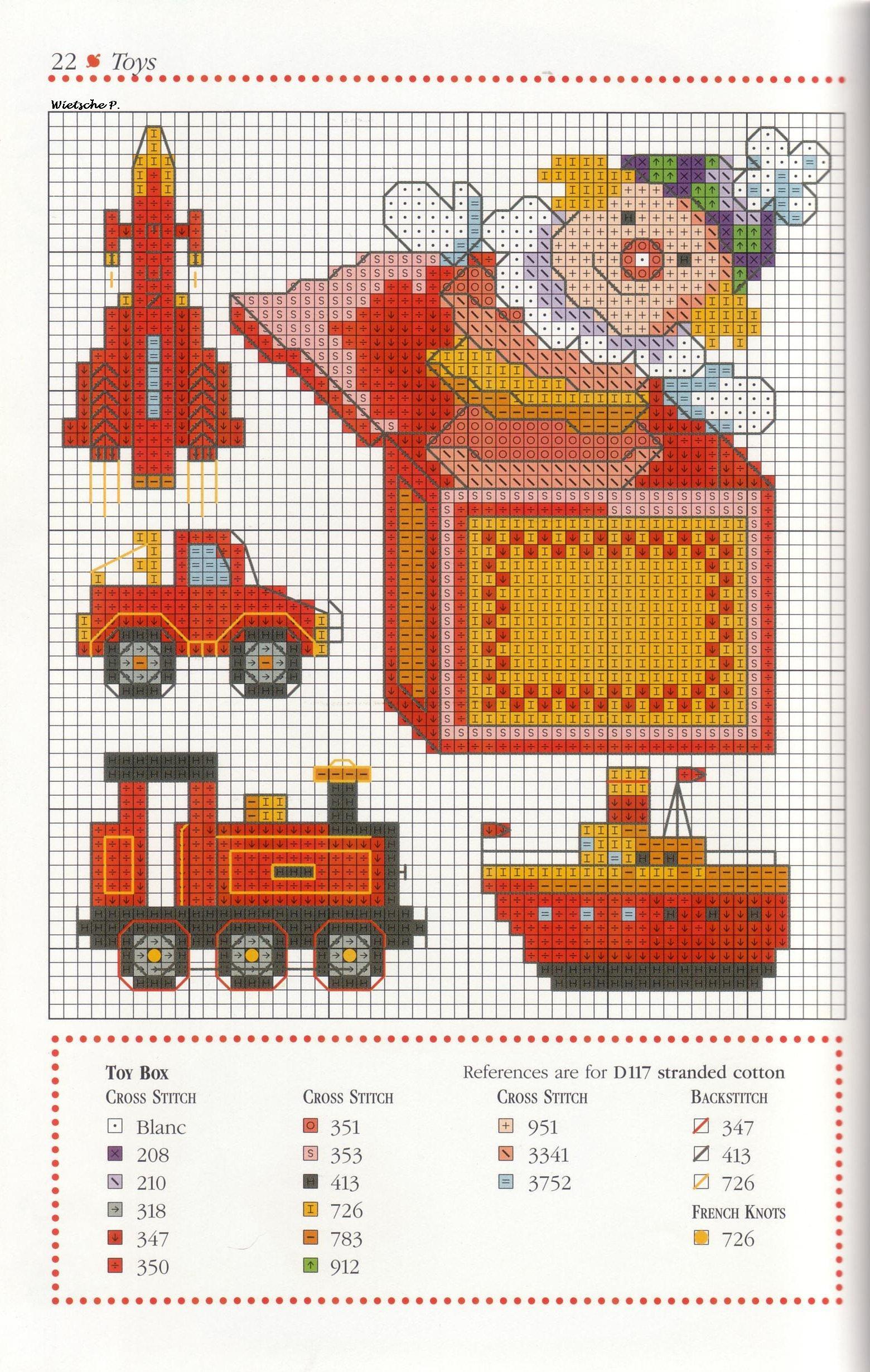 Рукодельки - машинка, паровозик, пароходик и клоун - цветная схема