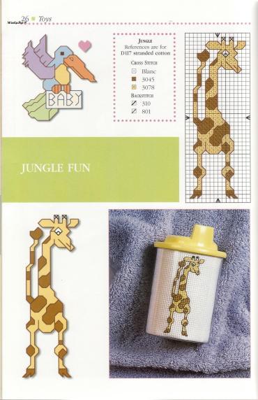 Рукодельки - жирафик, цветная схема вышивки крестиком
