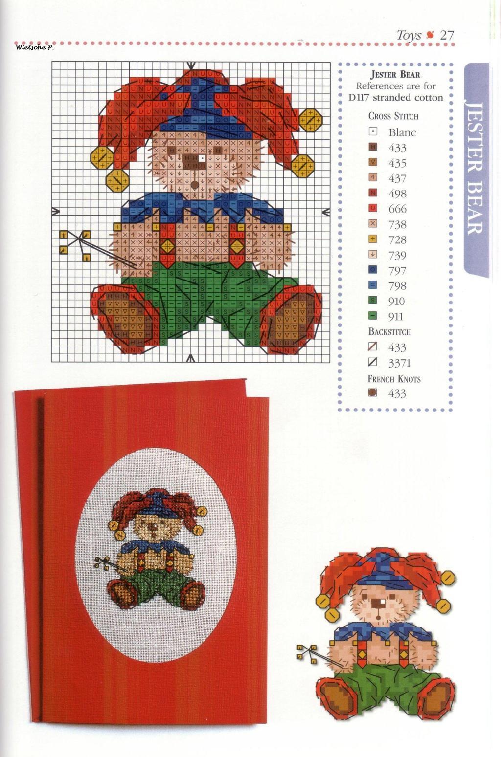 Рукодельки - Мишка в шутовском колпачке цветная схема вышивки крестиком