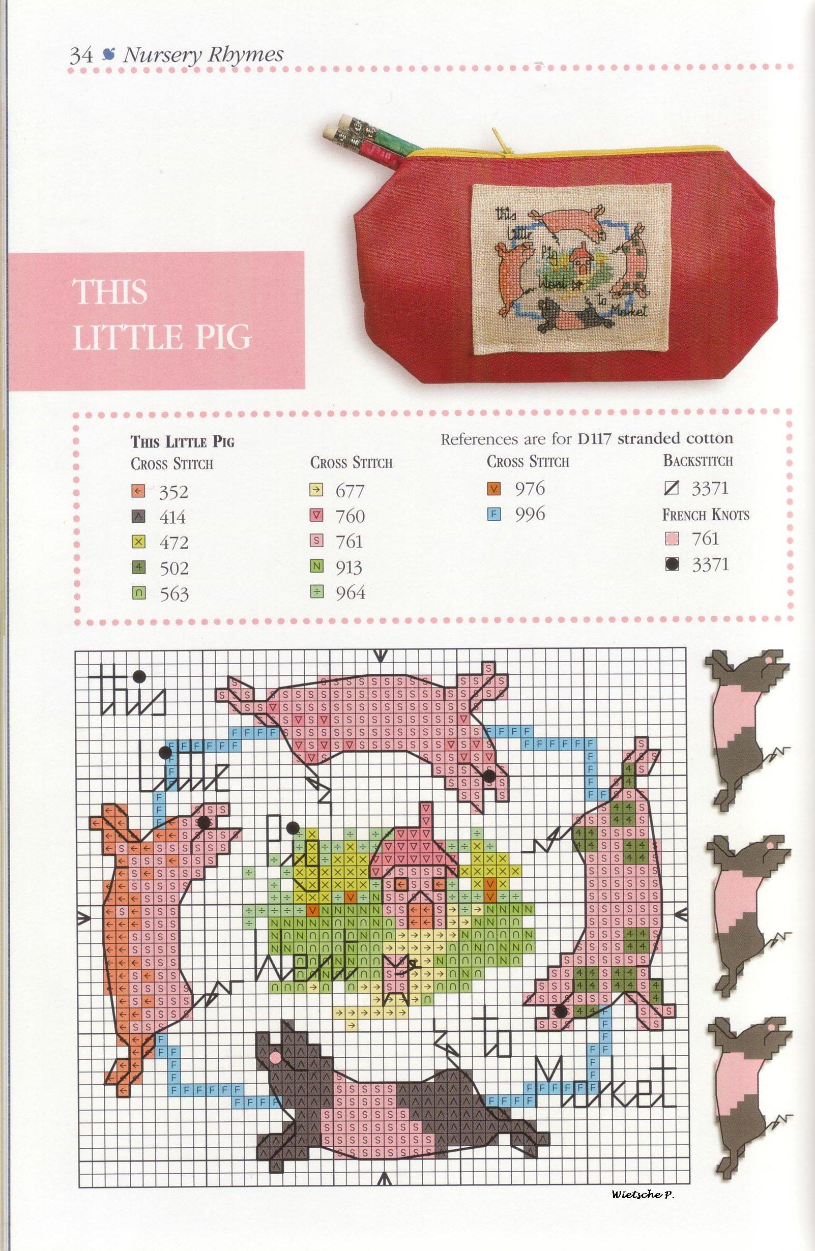 Пенальчик со свинками - вишивка крестиком - цветная схема