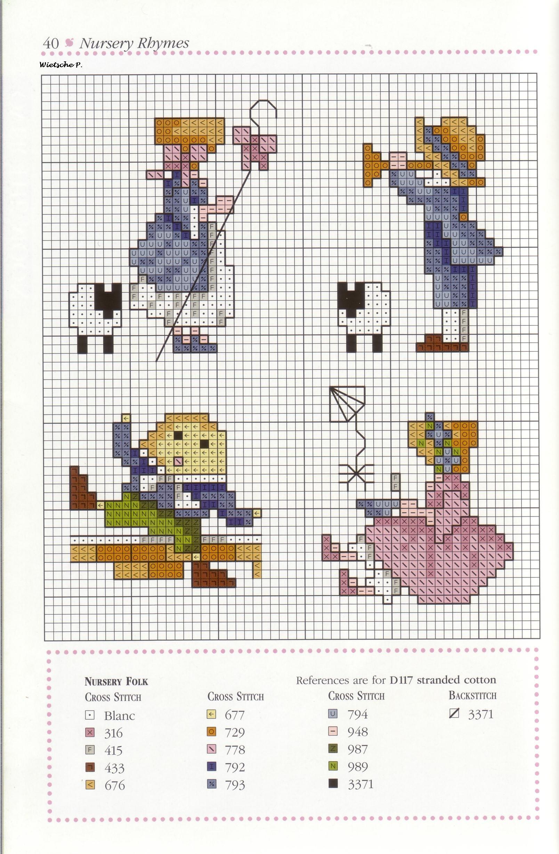 Рукодельки - пастушки - цветная схема вышивки крестиком