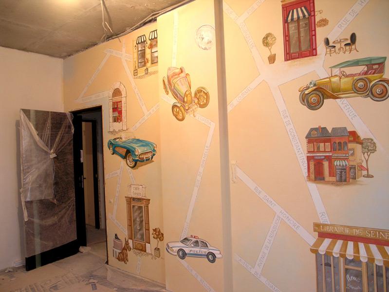 Роспись стен детской мальчика