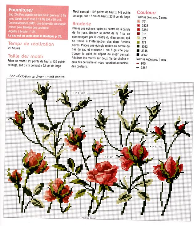 Схема вышивки крестом бабочки и розы