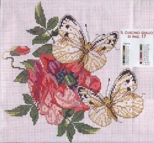 Мои рукодельки Схема  Подушка Мак и бабочки