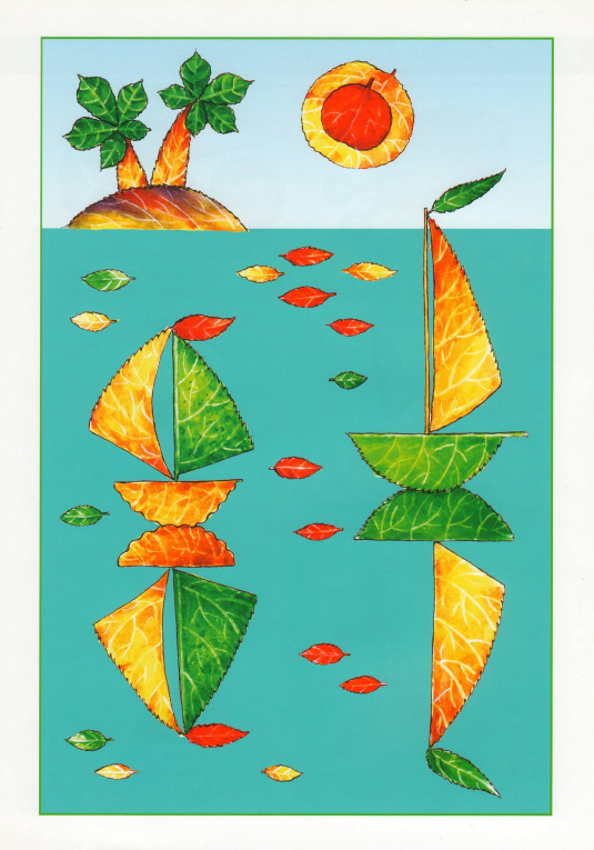 ... iz listev morskoj pejzazh 1 Аппликации из листьев: Морской пейзаж