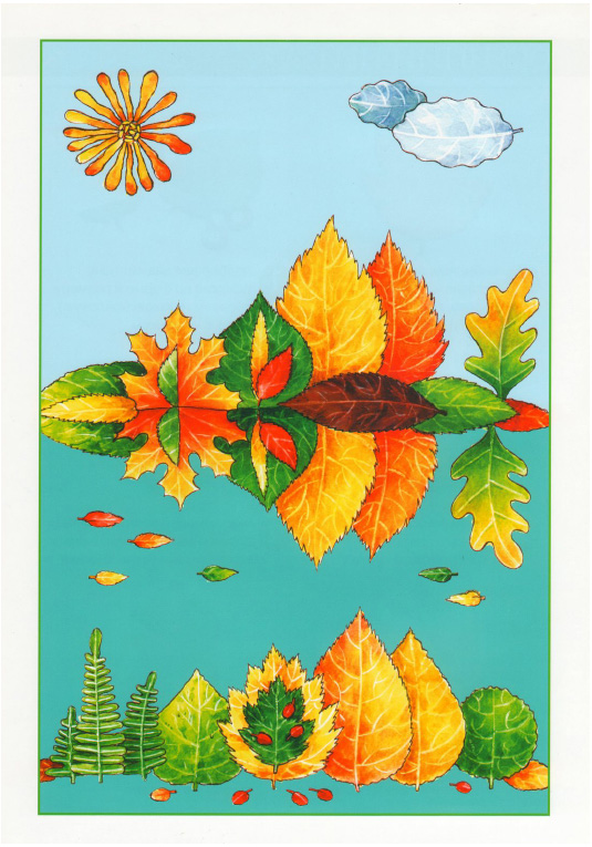 ... iz listev osennij pejzazh 1 Аппликации из листьев: Морской пейзаж