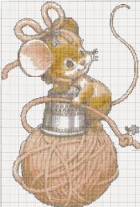 Мои рукодельки. Мышка на нитках. Цветная схема для вышивки крестиком